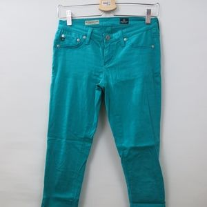 AG The Legging Super Skinny Ankle Teal Pants 25R